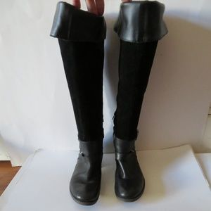 LUCKY BRAND BLACK LEATHER & SUEDE KNEE-HIGH BOOT 7